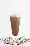 Chocolate milkshake with straws and sprinkles on white  poster