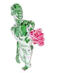 Grün-chrom metallic Mann mit roter Hand