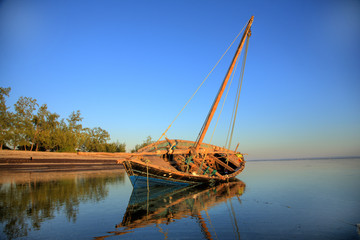 traditional sailing fishing boat dhow  Pemba. sunrises