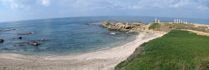 Panoramic view of Caesarea,  sea-coast of Israel