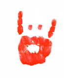finger painted hand with pointer and pinky flipped up