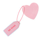 heart with note attached saying BE MINE poster