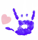finger painted hand making rock on sign with heart attached poster