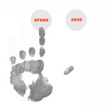 spend button pushed with finger painted hand poster