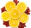 Fruit background from a lemon and seeds of a pomegranate.