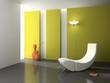Elegant interior with white armchair 3D