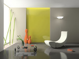 Fototapety Elegant interior with stylish armchair 3D rendering