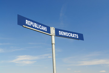 Republicans vs Democrats signpost