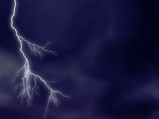 luminous lightning on stormy sky