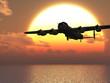 Lancaster heavy bomber sunset Illustration