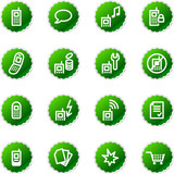 green sticker mobile phone icons poster
