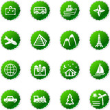 green sticker travel icons poster