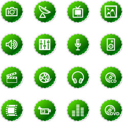 green sticker media icons
