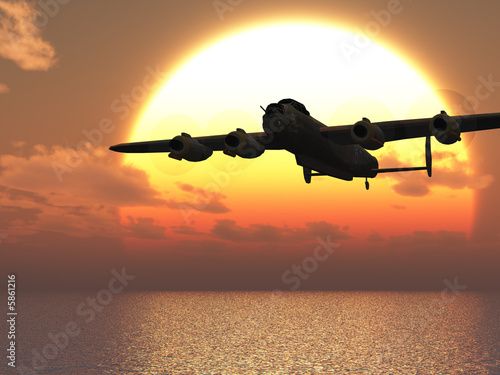 Lancaster heavy bomber sunset Illustration