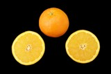 orange and two pieces/ halves of orange. Fruit. Nutrition poster