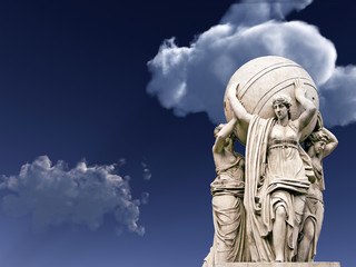 Allegorical statues about admiralty on a sky  background.