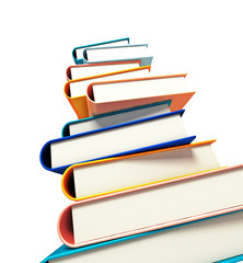 colored books on white background