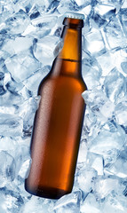 a bottle of beer is in ice