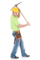 Handsome young successful construction worker