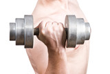 Weightlifting. Strong man with dumbbells. poster