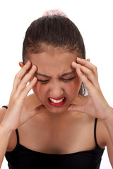 lady suffering on severe migraine