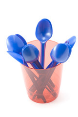 object on white - kitchen utensil - plastic cup with spoon