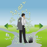 Businessman with a suitcase of money chooses the path poster