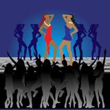 Girls dancing on dance floor in nightclub poster