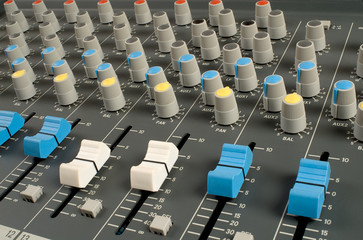 Closeup of audio mixing console