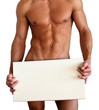 Quadro Naked muscular man covering with a box isolated on white
