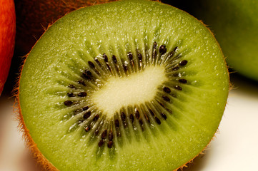 Cut through kiwi fruit