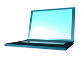 A neatly rendered three dimensional laptop. poster