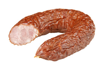 Polish sausage. Studio shot. Isolated on white with path.
