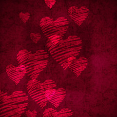 sketchy hearts on texture
