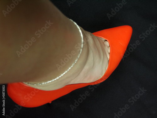 orange pumps