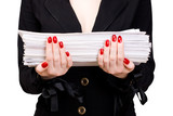 Businesswoman with heap of papers. poster