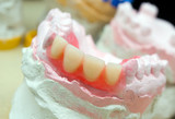 teeth mold and prosthetic devices  close-up..  poster