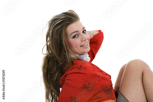 Sexy girl in red blouse on white background