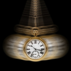 Concept image depicting Time and Motion on a black background.