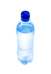 Plastic bottle with water on a white background