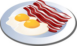 Fried egg and cooked bacon strips. isometric illustration poster