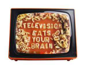 spaghetti message on view of retro orange television