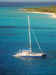Catamaran near the island of Grand Turk