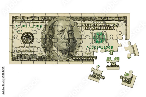 Banknote 100 dollars puzzle, isolated on white background