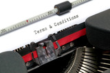 Terms and Conditions typed on an old typewriter. poster