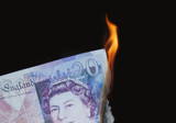 £20 burning, concept, wealthy, money to burn, wasting money. poster