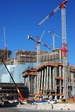 over view of condominium / hotel construction site 3 poster