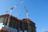 over view of condominium / hotel construction site 5 poster