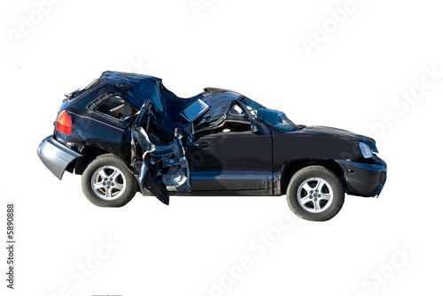 Wrecked automobile isolated - 5890888
