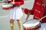 Two drummer girls on the city parade. poster